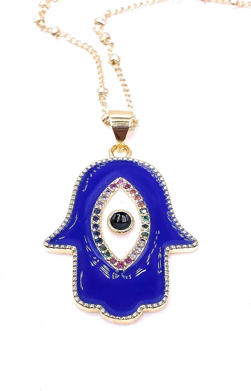 Mava Art Gold Plated Blue Enamel Hamsa Hand Necklace for Women 18K Plated Chain Evil Eye Jewelry