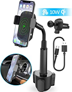 Wireless Car Charger, Squish 2-in-1 Universal Cell Phone Holder Cup Holder Phone Mount Car Air Vent Holder for iPhone, Samsung, Moto, Huawei, Nokia, LG, Smartphones (12.1 inches)