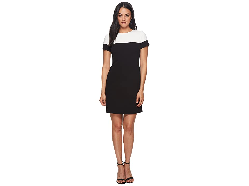 Adrianna Papell Knit Crepe Color Blocked A-Line Dress (Black/Ivory) Women