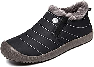 Eagsouni Womens Mens Snow Boots Winter Shoes Slip On Ankle Booties Anti-Slip Water Resistant Fully Fur Lined Outdoor Sneakers