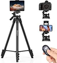 KINGJUE 60'' Camera Phone Tripod Stand for DSLR Canon Nikon with Universal Tablet Phone Holder Remote Shutter and Carry Ba...