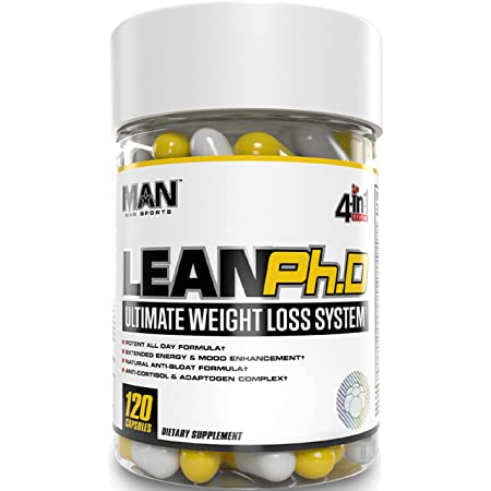 Man Sports Lean Ph.D - Dietary Supplement for Weight Loss, Energy and Mood Enhancement - 120 Capsules