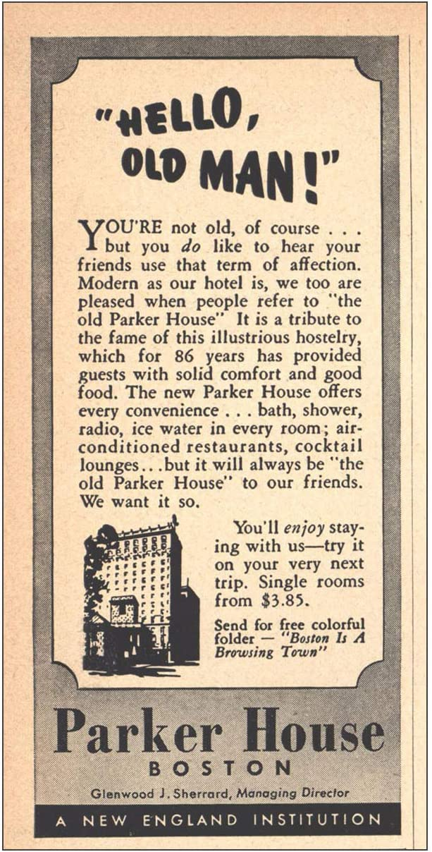 RelicPaper 1942 Parker House Old Inexpensive Man Hello Boston: Time sale