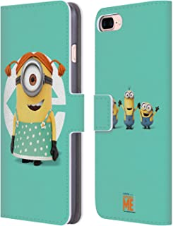 Official Despicable Me Stuart Girl Costume Minions Leather Book Wallet Case Cover Compatible for iPhone 7 Plus/iPhone 8 Plus