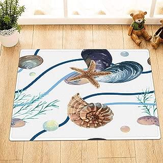 Watercolor Seashells Starfish Conch Bathroom Rug,Indoor Non-Slip Door Mat,Children's Bathroom Carpet,15.7X23.6 in,Bathroom Accessories