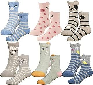 HzCodelo Kids Toddler Big Little Girls Fashion Cotton Crew Seamless Socks -6 Pair Pack