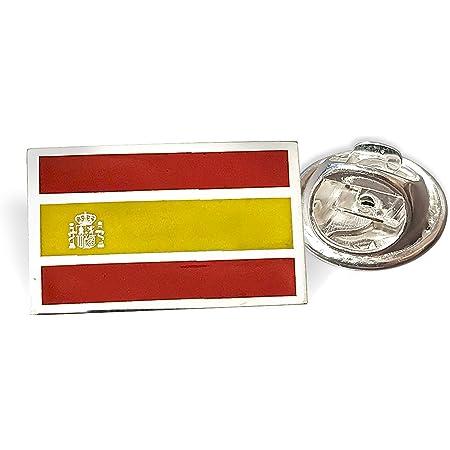 Yo Me Quedé en Casa Pin de Solapa Plata | Bandera de España Rectangular