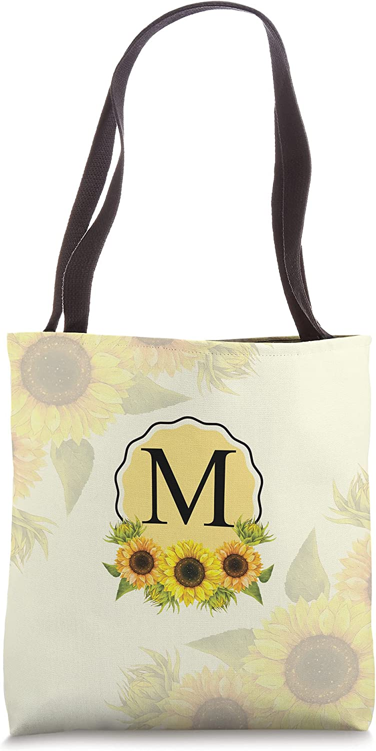 Personalized Initial M Sunflowers On Yellow Fall Autumn Tote Bag