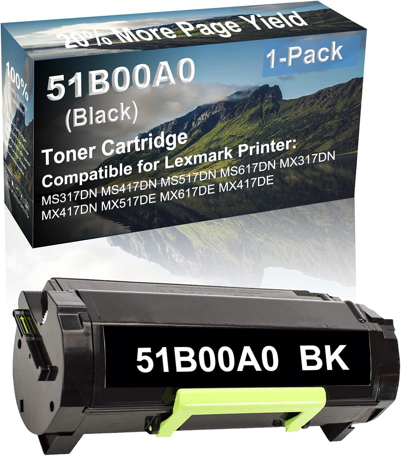 1-Pack Compatible High Capacity MS617DN MX317DN MX417DN Printer Toner Cartridge Replacement for Lexmark 51B00A0 Toner Cartridge (Black)