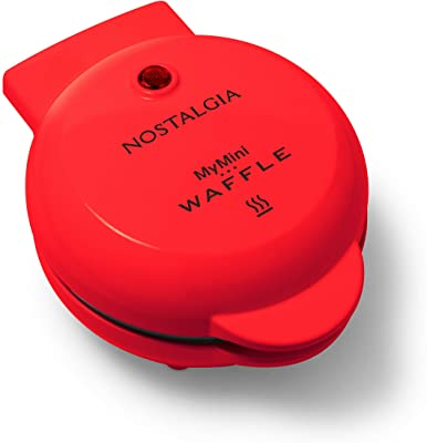 Nostalgia MWF5AQ MyMini Personal Electric Waffle Maker, Hash browns, French Toast Grilled Cheese, Quesadilla, Brownies, Cookies, Red