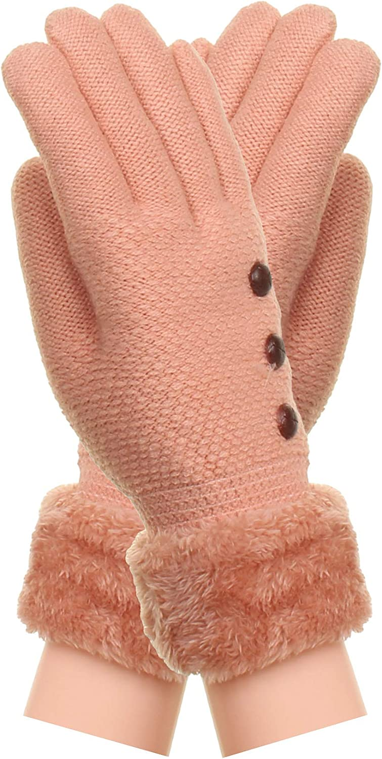 Gilbin Womens Soft And Warm Fuzzy Interior Fleece Lined Double Layer Winter Gloves