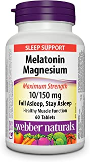 Webber Naturals Maximum Strength Melatonin 10 mg with 150 mg of Magnesium, 60 Tablets, For Sleep Support, Muscle Function,...