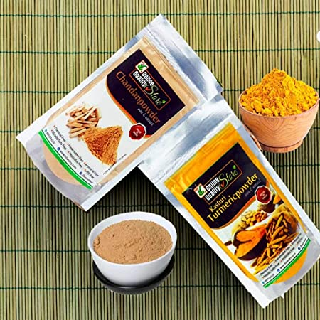 Online Quality Store Kasturi Turmeric Powder for Face + Pure Organic Sandalwood Powder For Skin Whitening(Pack of 2, 100g each, Total 200g Pack)