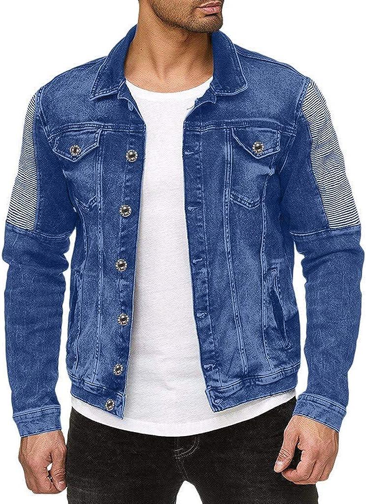 NREALY Chaqueta Vaquera Mens Long Sleeve Hole Lapel Pocket Fashion Denim Jacket Retro Top Blouse