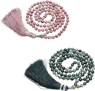 CrystalTears 108 perlas de piedras preciosas, pulsera enroscable para yoga, Om mani Padme hum, buda, curativa, reiki, pied...