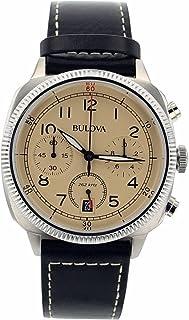 ブローバMen 's 96b231クロノグラフブラック本革ベージュダイヤル腕時計
