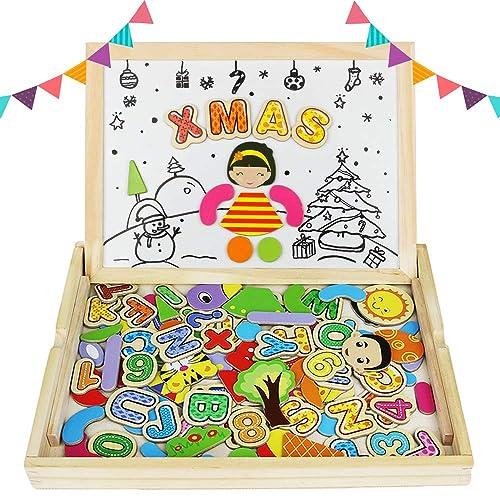 Akokie Hölzernes magnetisches Tier Holzpuzzles Brett Doppelseitiges Zeichnen Weißes Tafel Staffelei für Kinder 3 4 5 Jahre alt (90 Stücke)