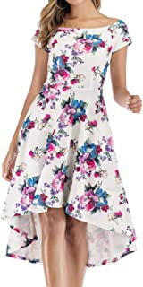 Gardenwed Women Off The Shoulder Short Sleeve High Low Cocktail Party Skater Dress with Pockets