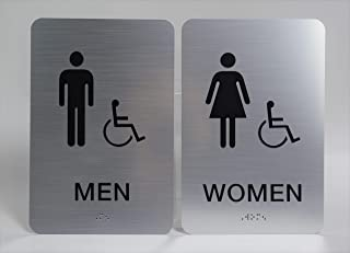 Custom Product Solutions Men & Women ADA Restroom (Bathroom) Modern Chic Sign w/Braille - Silver/Black