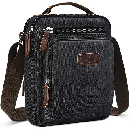 Ruschen Umhängetasche Schultertasche für Herren, Damen und Jungen, Kuriertasche aus Canvas, Herrentasche für Tablet, Messenger Bag für Tägliches Leben Reise