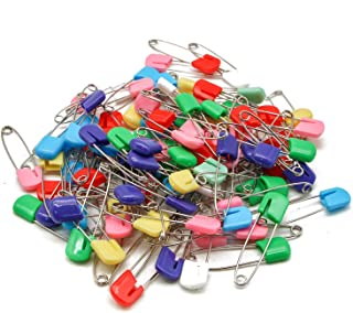 Square Art/&Beauty 50 Pack Assorted Color Plastic Head Baby Safety Pins Safety Locking Baby Cloth Diaper Nappy Pins