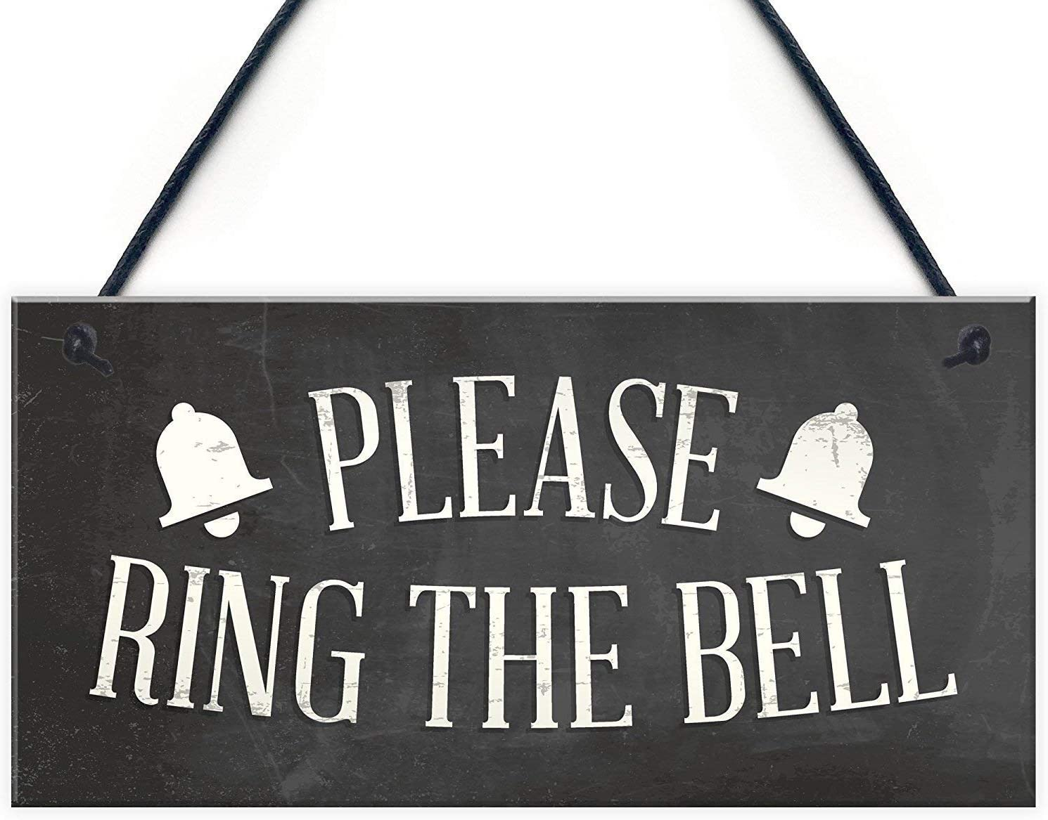 GUQFF 12x6 inch New Please Ring The Bell House Door Hanging Plaque Garden Home Decor Sign Notice