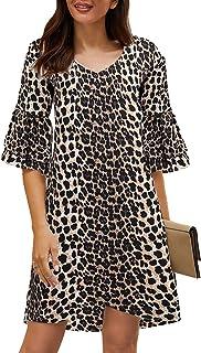 SimpleFun Women's Dress Sweet & Cute V-Neck Bell Sleeve Shift Dress Mini Dress