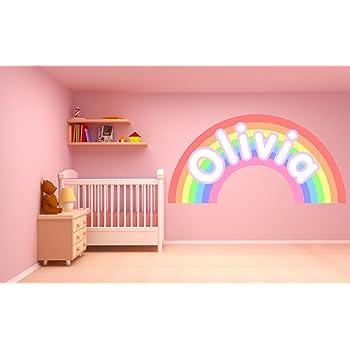 Adhesivo de pared personalizable con diseño de arcoíris pastel ...