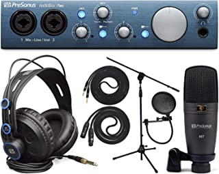 Presonus AudioBox iTwo Studio Audio Interface Full Studio Bundle w/Recording Software for Mac, Windows and iPad, Headphones, Microphone w/Cable, Pop Filter, Mic Stand, TS Instrument Cable