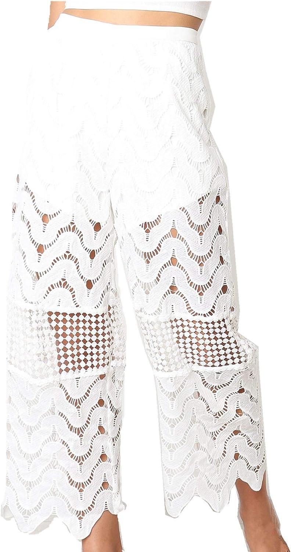 Onoti Molazo Women's Hollow Lace Crochet Scalloped Hem Wide Leg Pants