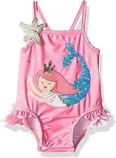 /'BONDS/' BABY GIRL BATHERS SWIMWEAR SUIT ONE PIECE PINK TROPICS SIZE 00 FITS 3-6M