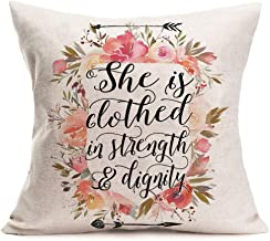 Xihomeli Throw Pillow Case She is Clothed in Strength & Dignity Inspirational Quote Pillow Cover Floral Flower Wreath Cotton Linen Cushion Cover for Girl's Gift Sofa Bedroom Decor 18