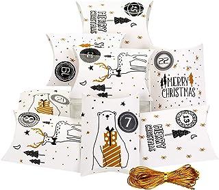 comprar comparacion EKKONG 24 Calendario de Adviento, Papel Almohada Cajas de Regalo Bolsas de Regalo con 1-24 Pegatinas para Bodas, Cumpleaño...