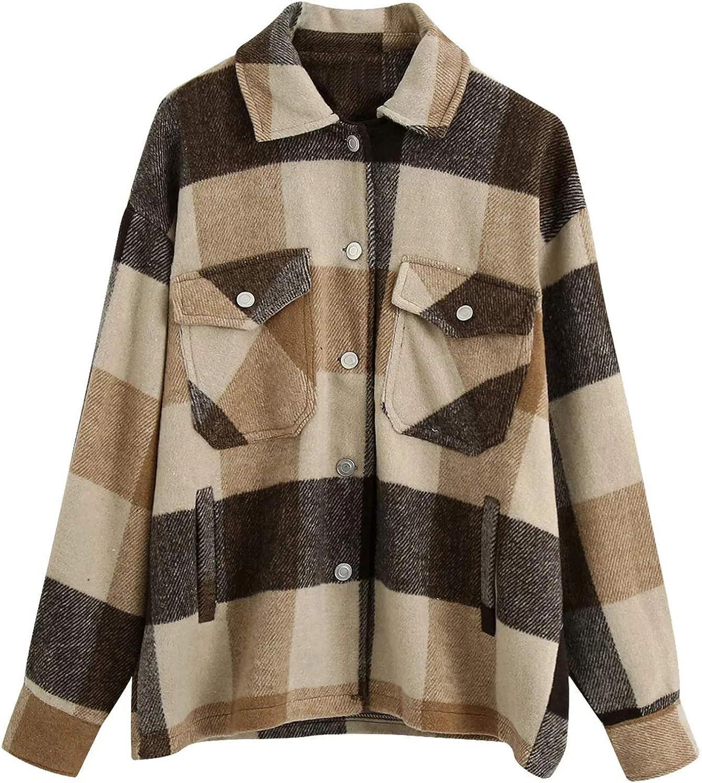 Women Jacket Casual Pockets Printed Button Down Plaid Shirt Long Sleeve Coat