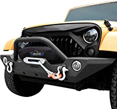 OEDRO Front Bumper Combo Compatible for 07-18 Jeep Wrangler JK & Unlimited with Winch Plate Mounting & 2 D-Rings, Upgraded Textured Black Rock Crawler Off Road Star Guardian Design