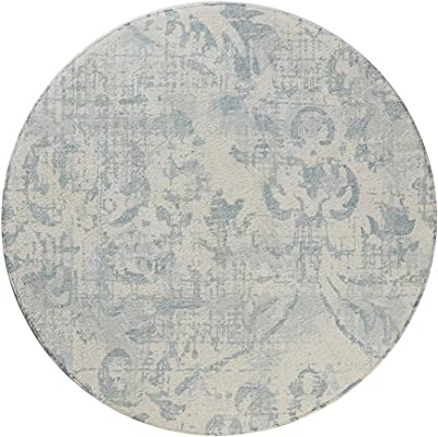 Lahome Damask Area Rug - 2' X 3' Non-Slip Area Rug Small Accent Distressed Throw Rugs Floor Carpet for Door Mat Entryway Bedrooms Laundry Room Decor 3' Diameter Gray