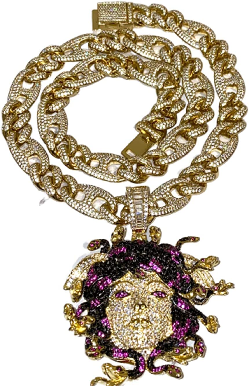 Shop-iGold Mens 14k Gold Finish 8mm Miami Cuban Link Choker Snake Greek God Medusa Head Necklace Iced Prong Set Cuban Chain for Men, Miami Cuban Link Chain Choker (22