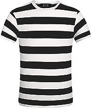 SSLR Men's Crewneck Short Sleeve Cotton Stripe Tee Shirt