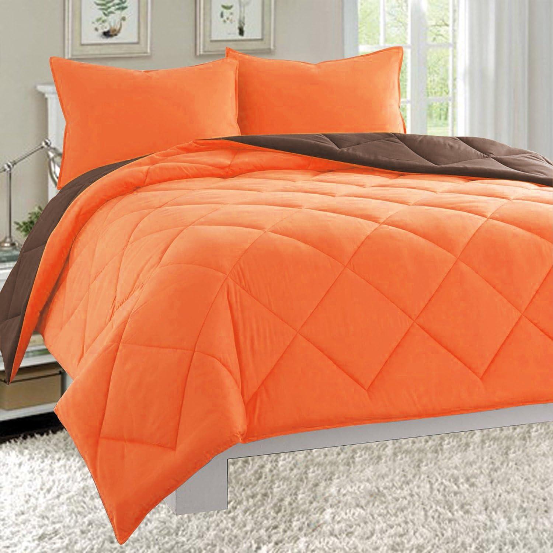 Celine Linen Luxury All Season Light Weight Down Alternative Reversible 2 Piece Comforter Set Hypoallergenic Diamond Stitched Twin Twin Xl Orange Chocolate Home Kitchen