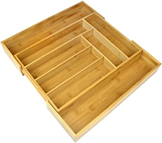 Cajón de cubiertos extensible de bambú | 6-8 compartimentos ajustables | Bandeja naturalmente duradera y resistente al agua | Organizador de cocina de madera | M&W