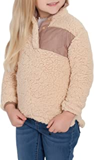 ZESICA Girl's Long Sleeve Stand Buttons Collar Pebble Pile Fleece Sherpa Sweatshirts Pullover