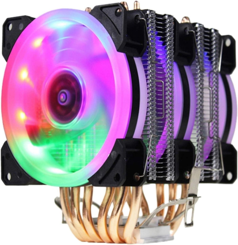 Tranquilo CPU Cooler Fan Y RGB Torre Doble Radiador 9 Cm Fin De Calor del Ventilador De Refrigeración Es Intel 775/1150/1151/1155/1156/1366 Fácil de Transportar e Instalar (Color : Black)