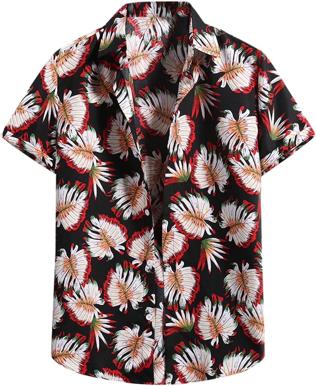 FUNEY Mens Hawaiian Shirts Short Sleeve Button Down Beach Shirts 2021 Fashion Flower Casual Summer Printed Poplin Shirt