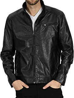 Sponsored Ad - VICALLED Mens Leather Jacket Slim Fit Stand Collar PU Motorcycle Jacket Lightweight