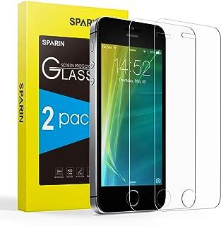 SPARIN [2 Unidades] Protector de Pantalla para iPhone SE, Protector de Pantalla de Cristal Templado para iPhone SE/5S/5C/5 con [antiarañazos] [Transparente Cristal]