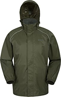 4c93a39d63b Mountain Warehouse Pakka Mens Waterproof Packable Jacket - Foldaway Hood  Jacket, High Vis Mens Coat