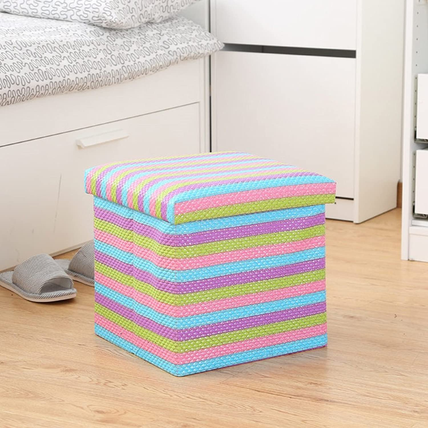 Multi-Functional Folding Cloth Storage Stool Can Take People to Change The Stool Sofa Stool (color   B, Size   38  38  76cm)