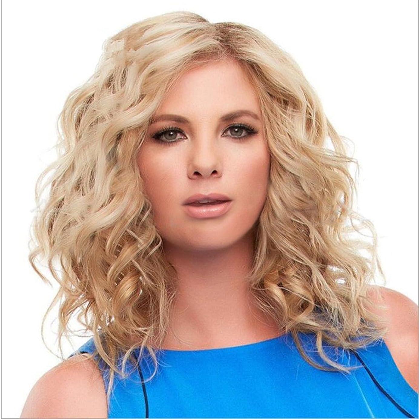 恐怖症飲食店噴出するJIANFU 化学繊維女性のウィッグ若々しい女性のための長いカーリーナチュラルカラーウィッグミドルバンズ毛の耐熱ウィッグ長さ65cm (Color : 金色)