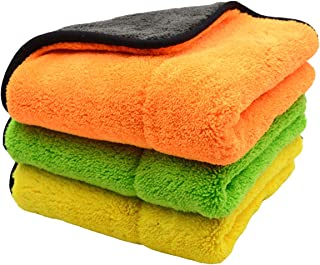 "Queenbox 3 Pack 800GSM Super Thick Plush Microfiber Car Cleaning Cloths, 3 Colors, 17.7"" x 14.9"""