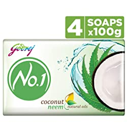 Godrej No.1 Bathing Soap - Coconut & Neem Soap, 100g (Pack of 4)